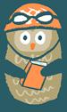 Happy owl with books